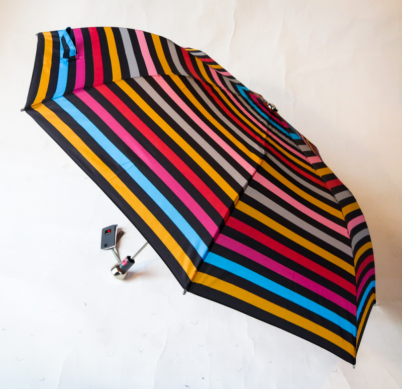 EXCLUSIVITE : Parapluie pliant automatique rayé multicolore Knirps