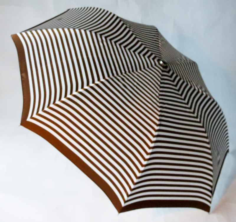 EXCLUSIVITE : Parapluie pliant automatique rayé marron blanc Knirps, grand et robuste