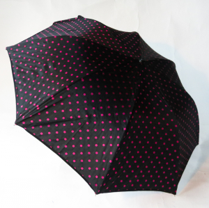 Parapluie pliant automatique chocolat pois rose Guy de Jean