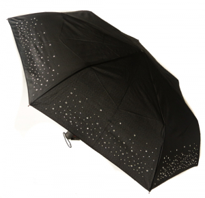 EXCLUSIVITE Mini parapluie pliant open-close noir incrusté cristaux Swarovski Neyrat Autun, léger et solide