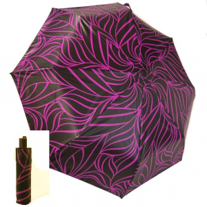 EXCLUSIVITE Mini parapluie pliant open-close noir imprimé prune Neyrat Autun, léger et solide