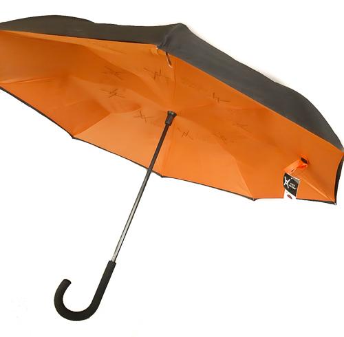 Versa Orange Long Uni Femme Doublé Inversé Vice Parapluie Noir Manuel wP0X8nkO