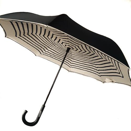 9f8dd925bdf Parapluie inversé doublé noir imprimé rayures noir ivoire Jean Paul Gaultier