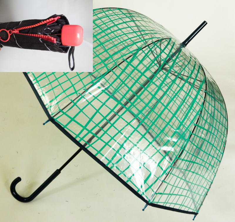 LOT : Parapluie cloche transparent imprimé et Micro plat  chocolat à carreaux blancs