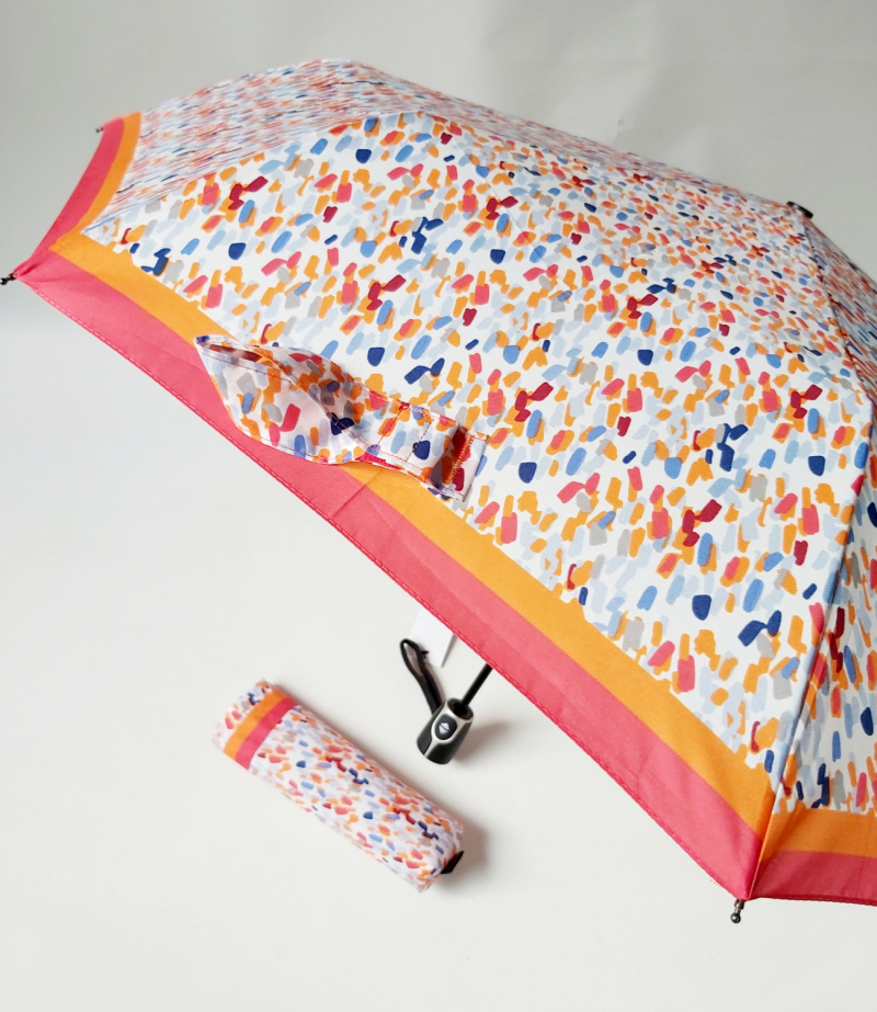 Parapluie femme mini pliant orange open close à motif Doppler, léger et résistant