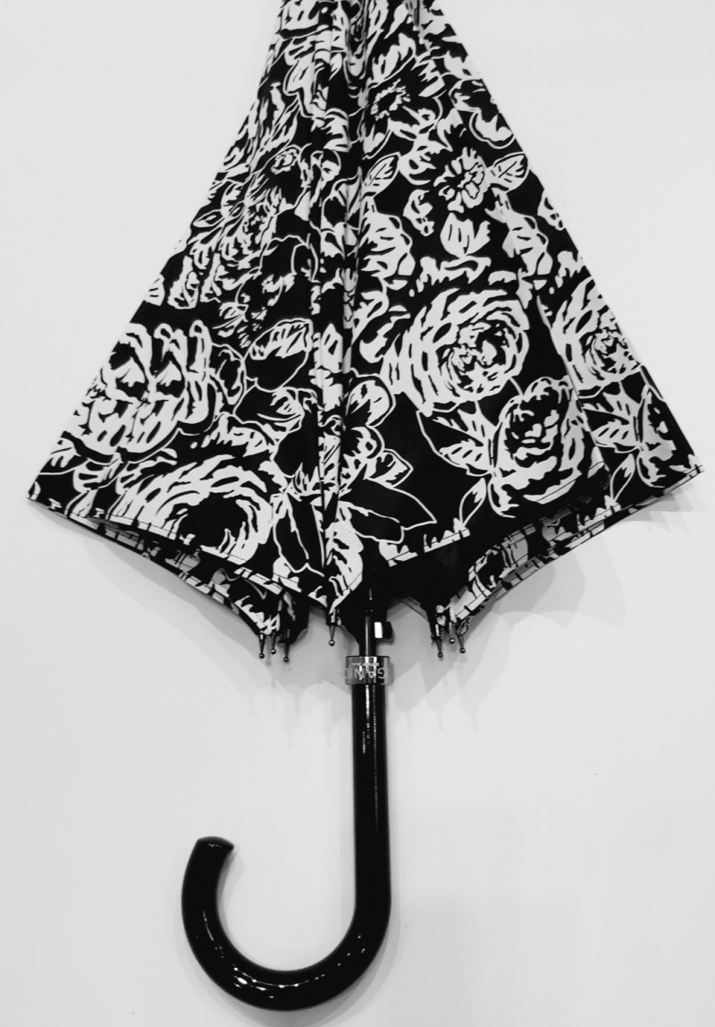 Parapluie r/éversible double peau Noir//rose