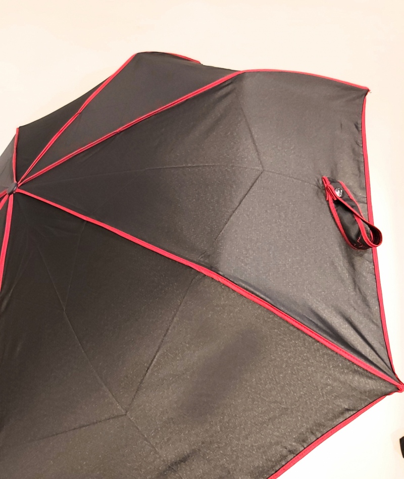 Mini parapluie extra fin pliant open close noir & rouge Signature P.Cardin, Slim léger 260g & solide