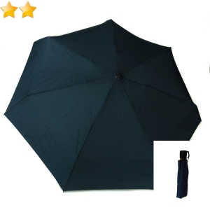 Mini parapluie plat pliant uni bleu marine open-close Guy de Jean, léger 290g & solide