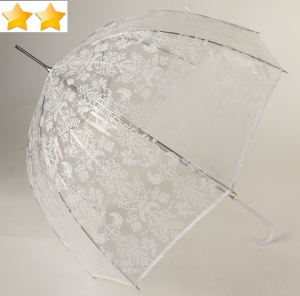 Parapluie cloche transparent imprimé arabesques blanches