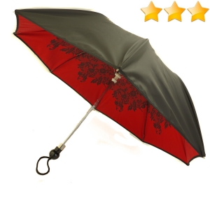 EXCLUSIVITE : Parapluie pliant Chantal Thomass noir doublé rouge