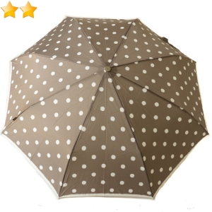 Mini parapluie pliant open-close gris taupe à pois Knirps, grand et léger