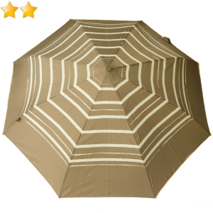 Mini parapluie pliant open-close taupe à rayures Knirps