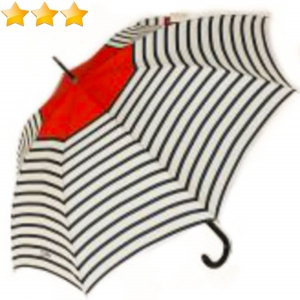 Parapluie Jean Paul Gaultier long automatique rayé écru marine & pompon rouge, grand & solide