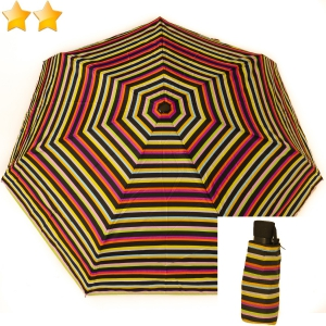 Mini parapluie plat open-close rayures de couleur pastel