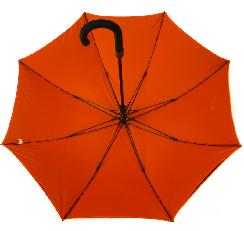 Parapluie long automatique noir doublé orange
