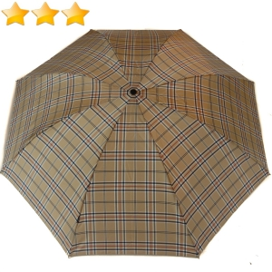 Mini parapluie pliant automatique Knirps beige à carreaux