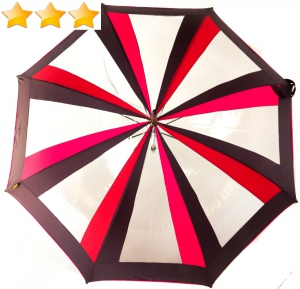 Parapluie long alterné transparent, prune, fushia et rouge Sauvagnat