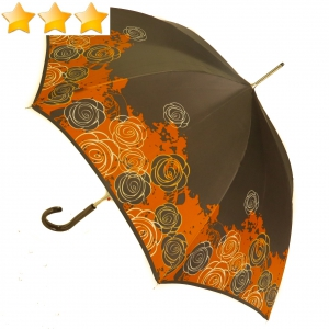 EXCLUSIVITE : Parapluie long automatique marron bord fleuri orange Knirps