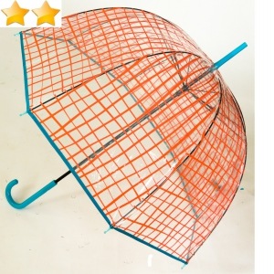 Parapluie cloche transparent imprimé carreaux corail
