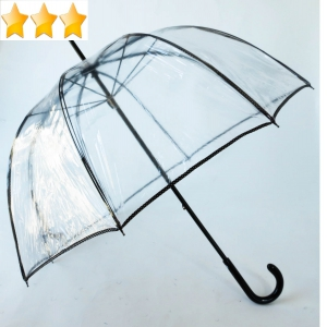 Parapluie cloche transparent style seventies bordé noir pois blanc Guy de Jean
