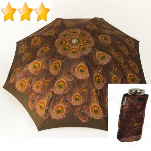 EXCLUSIVITE : Parapluie mini inversé automatique motif à plumes de paon marron, robuste et original