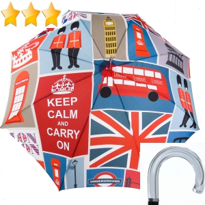 EXCLUSIVITE : Parapluie long automatique patchwork Anglais Londres Ezpeletta