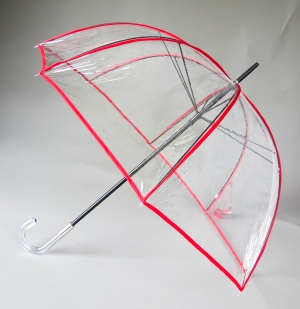 Parapluie cloche transparent bordé rouge seventies de Guy de Jean, léger et résitant