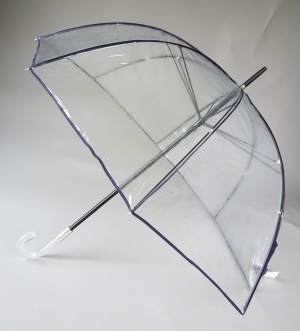Parapluie cloche transparent borde violet seventies de Guy de Jean