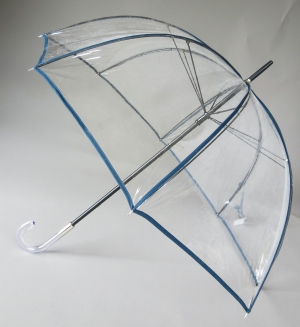 Parapluie cloche transparent borde bleu marine seventies par Guy de Jean, grand et solide