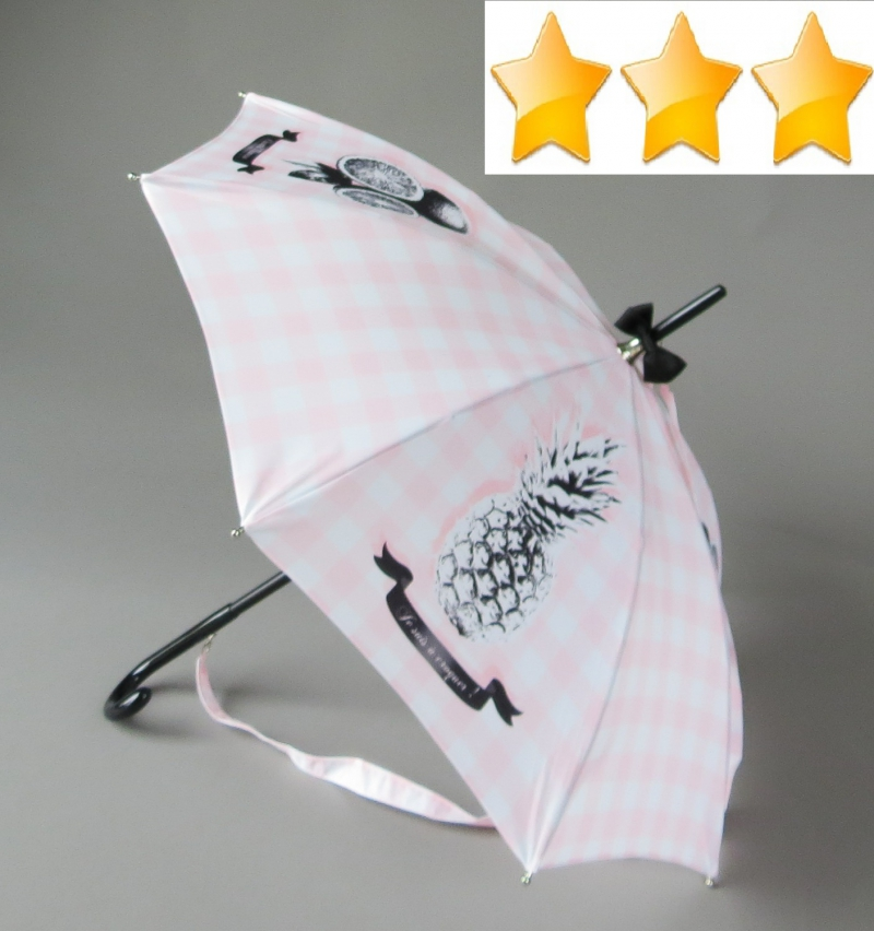 EXCLUSIVITE Parapluie long Chantal Thomass bandoulière rose et noir