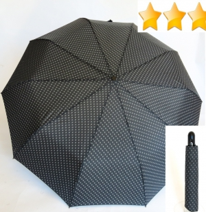 parapluie mini pliant open-close gris anthracite imprimé losanges 10 baleines Happy Rain, grand et résistant