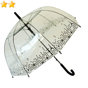 Parapluie cloche transparent bordure Tour Eiffel