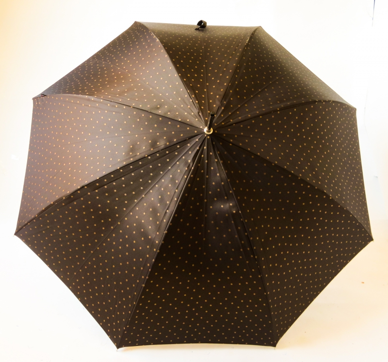 EXCLUSIVITE : Parapluie long automatique chocolat à pois Knirps