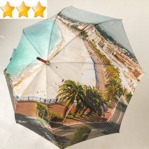 Parapluie long manuel impression photo de la baie des anges Nice P Vaux