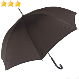 Parapluie long automatique uni chocolat à bordure noire Guy de Jean