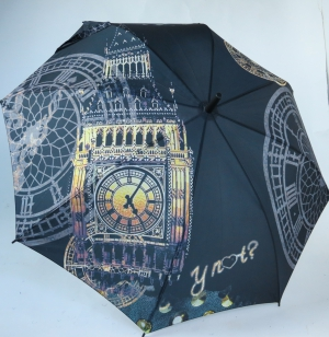 Parapluie long automatique noir Y'not tour Londres la nuit Big Ben Happy Rain, léger et résistant