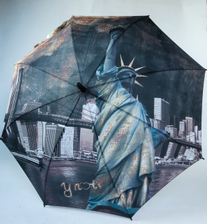 Parapluie long automatique gris noir Statue de la Liberté Y not photo New York la nuit
