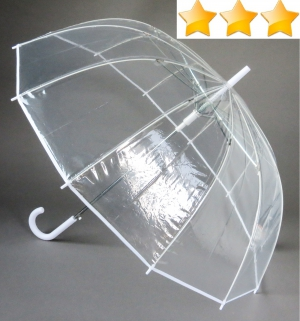 Grand parapluie transparent automatique 12 baleines bordé blanc Susino