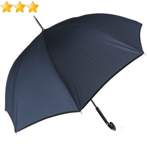 Parapluie long automatique uni bleu marine à bordure noire Guy de Jean