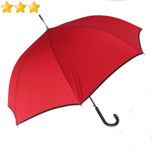 Parapluie long automatique uni rouge à bordure noire