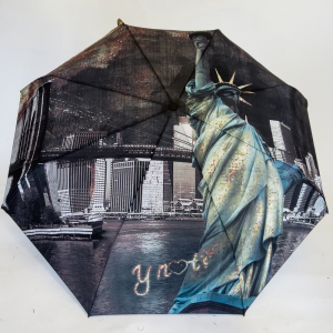 Mini parapluie open-close la nuit en ville New York la Statue de la Liberté et son pont Happy Rain Y'Not