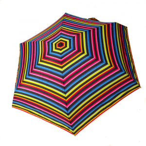 parapluie mini pliant open close rayure multicolore Guy de jean, léger et solide