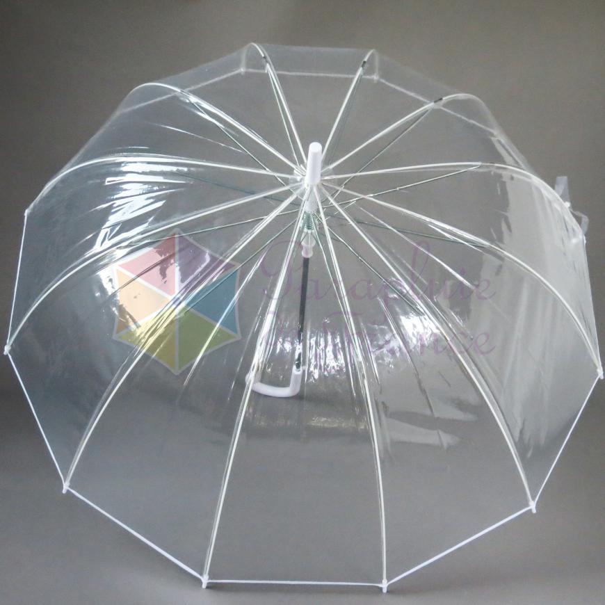 chaussures de séparation e28e5 4fc93 Grand parapluie transparent femme automatique 12 baleines bordé blanc  mariage cérémonie Susino Smati